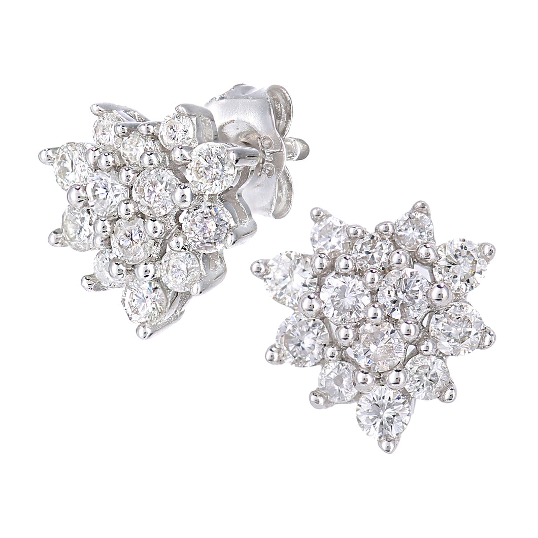 9ct White Gold 0.50ct Total Diamonds Cluster Earrings