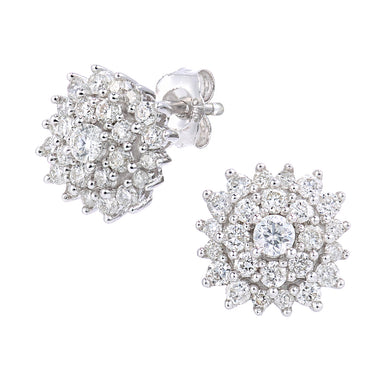 9ct White Gold 0.60ct Diamond Cluster Earrings
