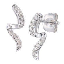 Load image into Gallery viewer, 9ct White Gold Diamond S Design Earrings