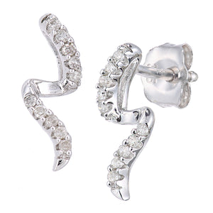 9ct White Gold Diamond S Design Earrings