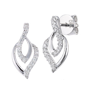 18ct White Gold Diamond Set Drop Earrings