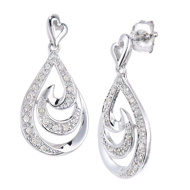 9ct White Gold Diamond Teardrop Design Earrings