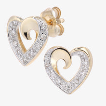 Load image into Gallery viewer, 9ct Yellow Gold Diamond Heart Stud Earrings