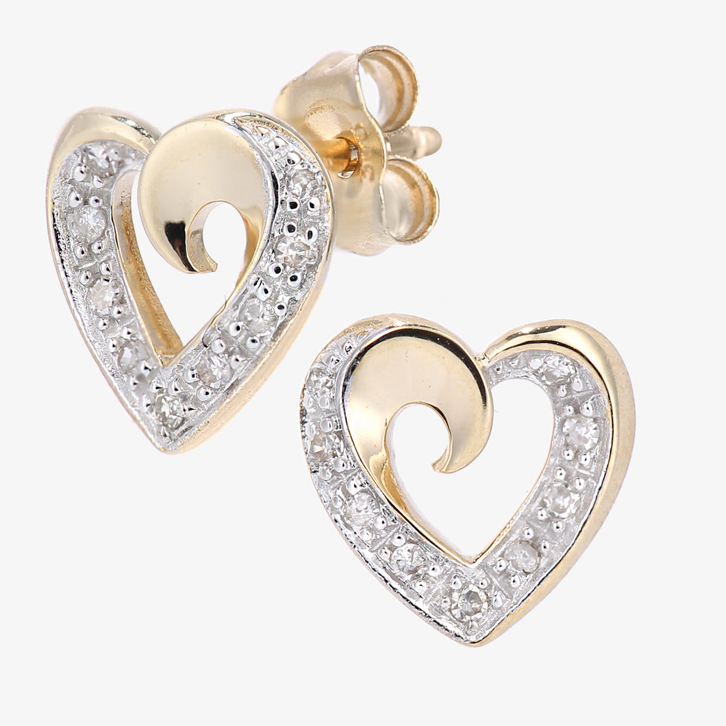 9ct Yellow Gold Diamond Heart Stud Earrings