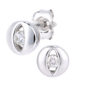 9ct White Gold Diamond Eye Stud Earrings