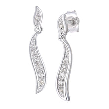 Load image into Gallery viewer, 9ct White Gold Diamond Earrings Swirl Design