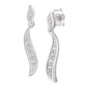 9ct White Gold Diamond Earrings Swirl Design