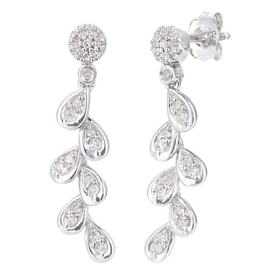 9ct White Gold Diamond Leaf Drop Earrings