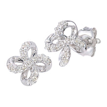 Load image into Gallery viewer, 9ct White Gold Diamond Stud Flower Design Earrings