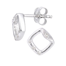 Load image into Gallery viewer, 9ct White Gold Diamond Frame Design Earrings