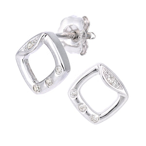 9ct White Gold Diamond Frame Design Earrings