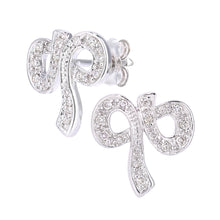 Load image into Gallery viewer, 9ct White Gold Diamond Bow Earrings