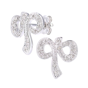 9ct White Gold Diamond Bow Earrings