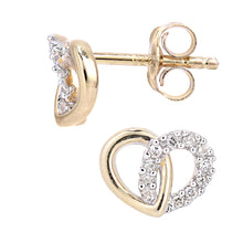 Load image into Gallery viewer, 9ct Yellow Gold Diamond Heart Link Earrings