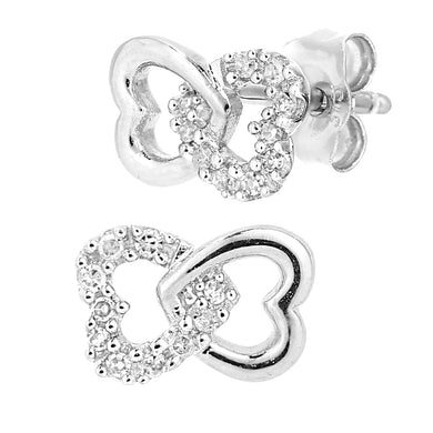 9ct White Gold Diamond Linked Hearts Stud Earrings