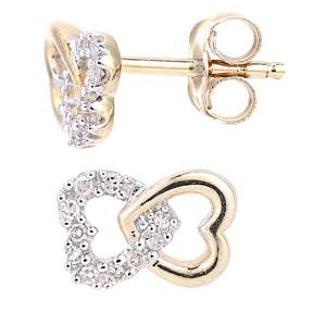 9ct Yellow Gold Diamond Linked Hearts Stud Earrings