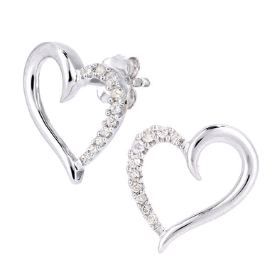 9ct White Gold Diamond Heart Design Earrings