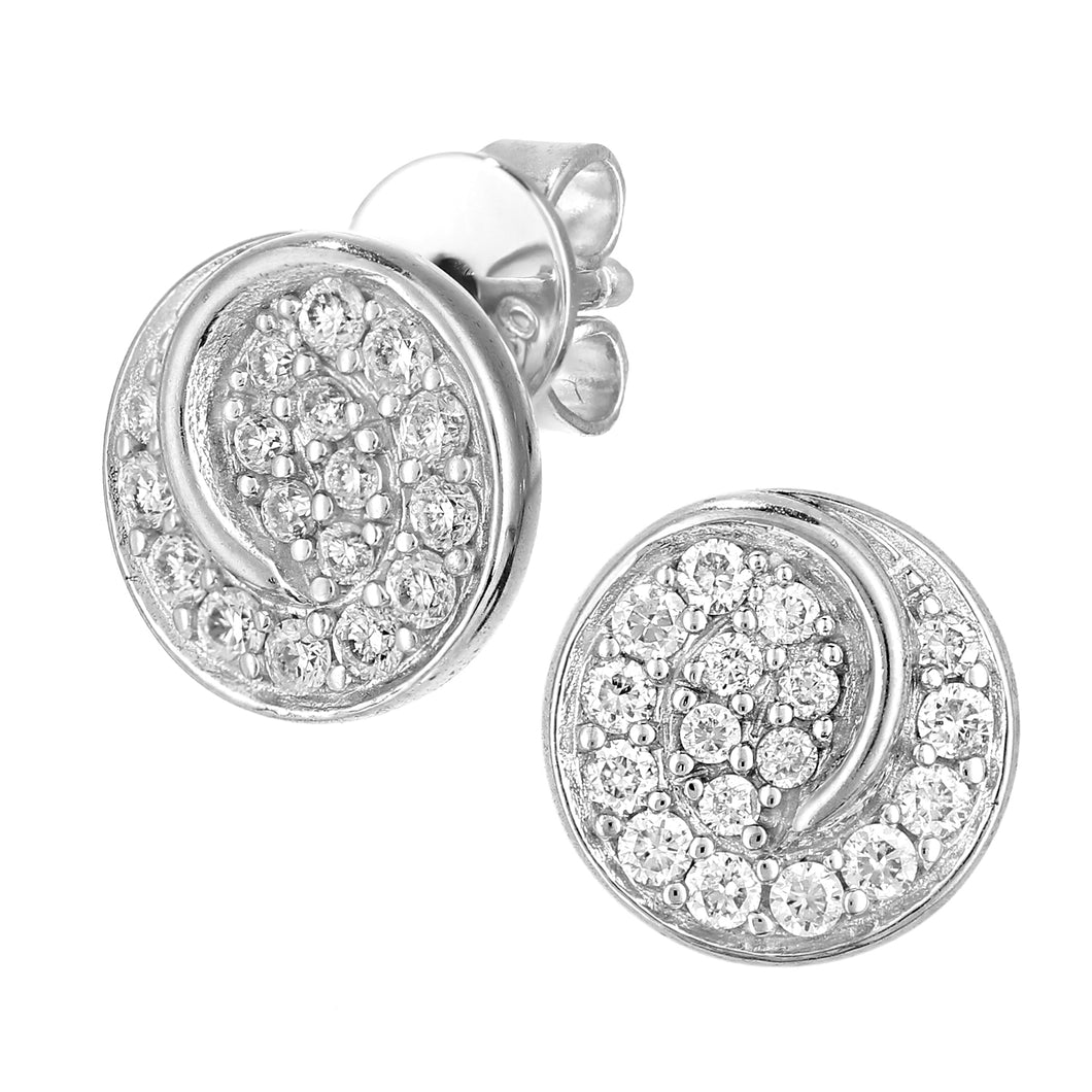 18ct White Gold Diamond Circle Swirl Design Earrings