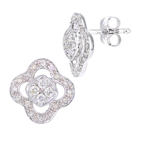 9ct White Gold Diamond Flower Earrings