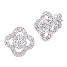 Load image into Gallery viewer, 9ct White Gold Diamond Flower Earrings