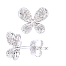 Load image into Gallery viewer, 9ct White Gold Diamond Butterfly Design Earrings