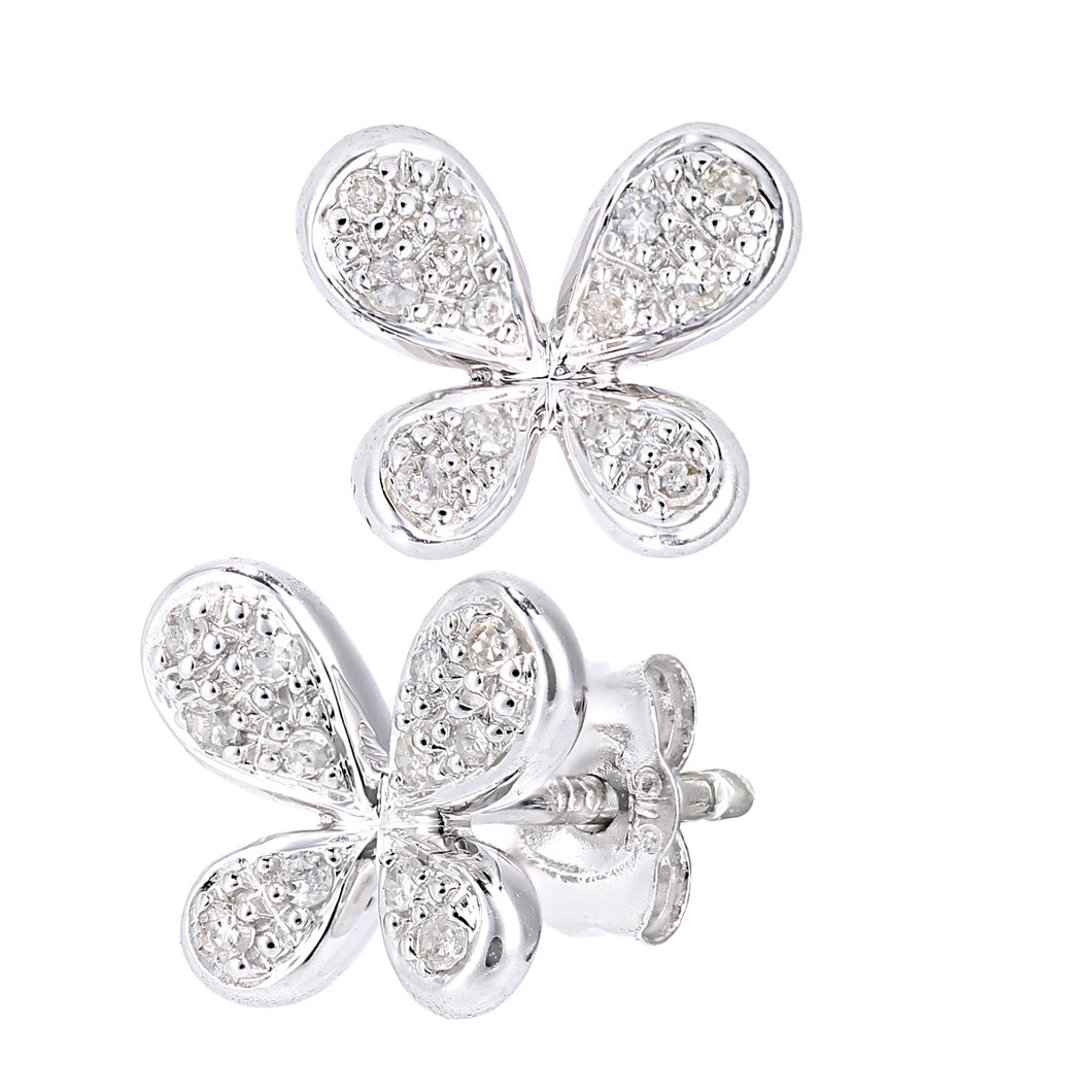 9ct White Gold Diamond Butterfly Design Earrings