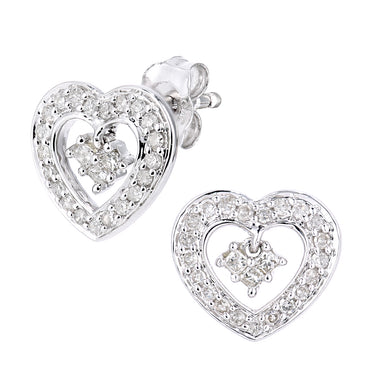 9ct White Gold Diamond Heart Charm Earrings
