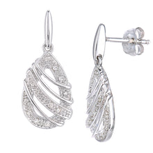 Load image into Gallery viewer, 9ct White Gold Diamond Teardrop Swirl Design Earrings