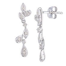 Load image into Gallery viewer, 9ct White Gold Diamond Leaf Design Drop Earrings