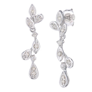 9ct White Gold Diamond Leaf Design Drop Earrings