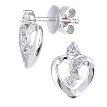 Load image into Gallery viewer, 18ct White Gold Diamond Heart Stud Earrings