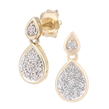 Load image into Gallery viewer, 9ct Yellow Gold Diamond Set Teardrop Earrings