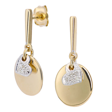 9ct Yellow and White Gold Diamond Heart Charm Earrings