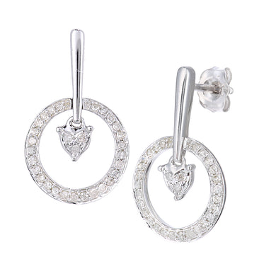 9ct White Gold Diamond Heart Drop Earrings