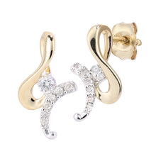 Load image into Gallery viewer, 9ct Yellow and White Gold Diamond Swirl Design Earrings