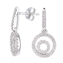 Load image into Gallery viewer, 9ct White Gold Diamond Circle Drop Design Earrings