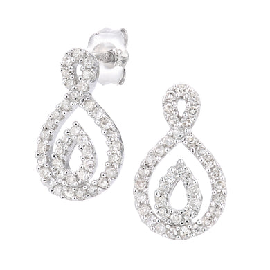 9ct White Gold Diamond Twist Teardrop Design Earrings