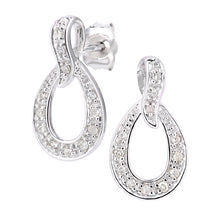 Load image into Gallery viewer, 9ct White Gold Diamond Teardrop Earrings