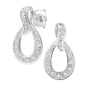 9ct White Gold Diamond Teardrop Earrings