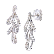 Load image into Gallery viewer, 9ct White Gold Diamond Leaf Design Earrings