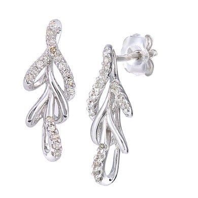 9ct White Gold Diamond Leaf Design Earrings