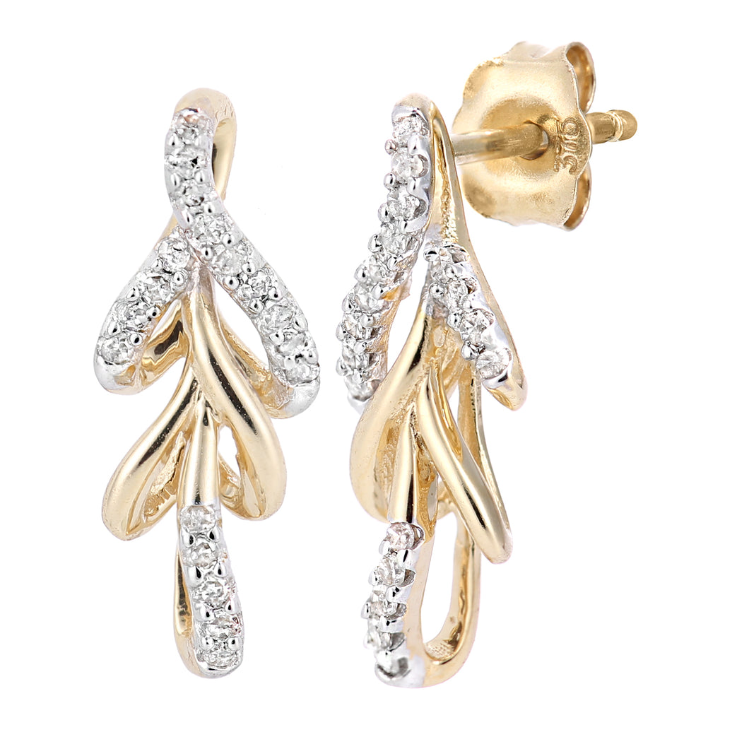 9ct Yellow Gold Diamond Leaf Design Earrings