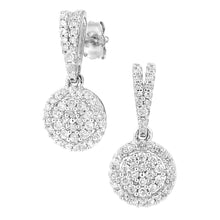 Load image into Gallery viewer, 9ct White Gold Diamond Cluster Earrings