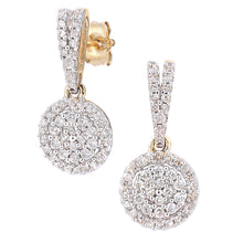 Load image into Gallery viewer, 9ct Yellow Gold Diamond Cluster Earrings