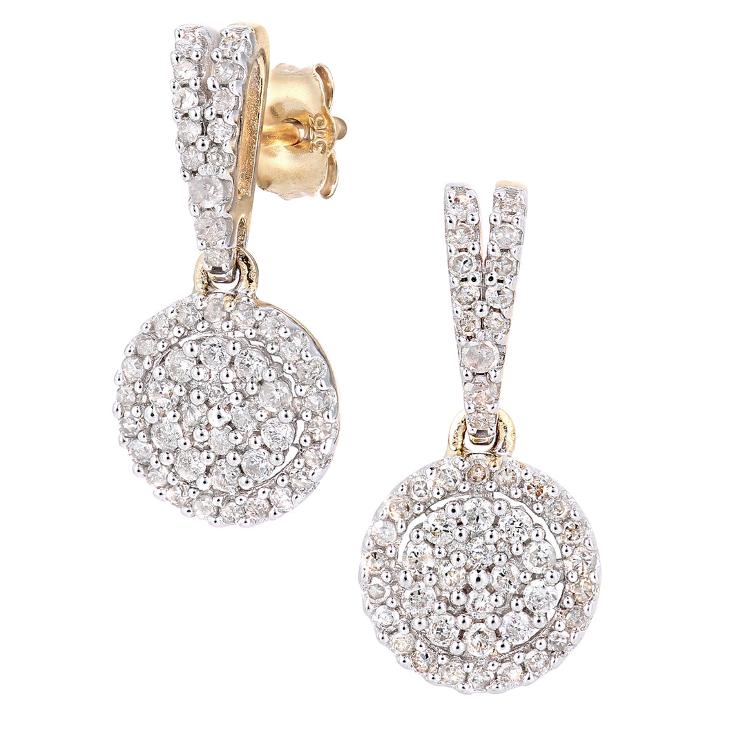 9ct Yellow Gold Diamond Cluster Earrings