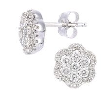 Load image into Gallery viewer, 9ct White Gold Diamond Cluster Flower Design Earrings