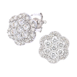 9ct White Gold Diamond Cluster Flower Design Earrings