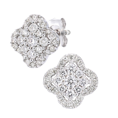 9ct White Gold Diamond Cluster Square Earrings