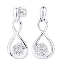 Load image into Gallery viewer, 9ct White Gold Diamond Figure Eight Design Earrings