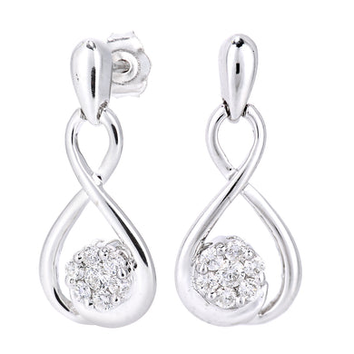 9ct White Gold Diamond Figure Eight Design Earrings